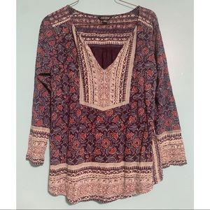Lucky Brand 🍀 Boho Print/Long Sleeve Blouse - M